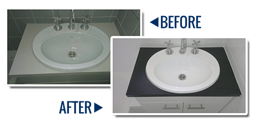 A bathroom that has had the basin resurfaced in white gloss, the bench top resurfaced in charcoal, the cabinet resurfaced in white and the wall and floor tiles resurfaced in white. Before and After photos.