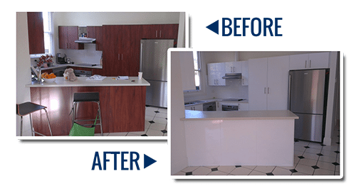An old kitchen has been transformed by being painted new colour in this case gloss white. Before and After photos.